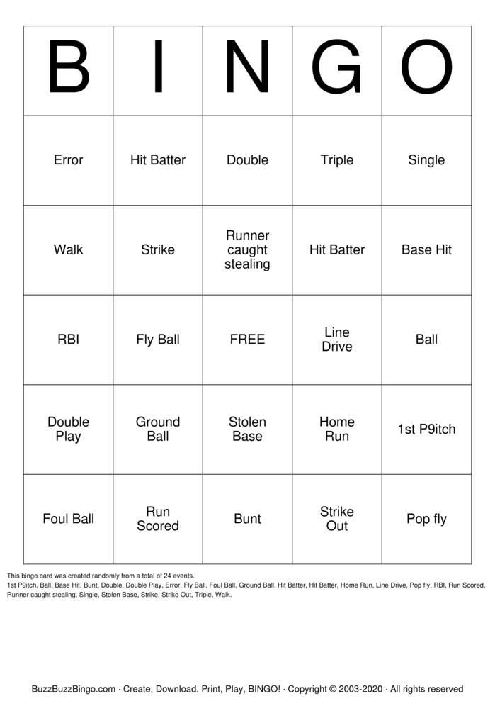Download Free Softball Bingo Bingo Cards