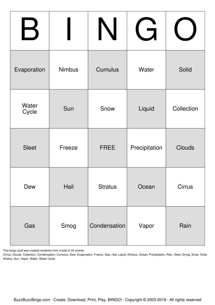 Download Water Cycle Bingo Cards
