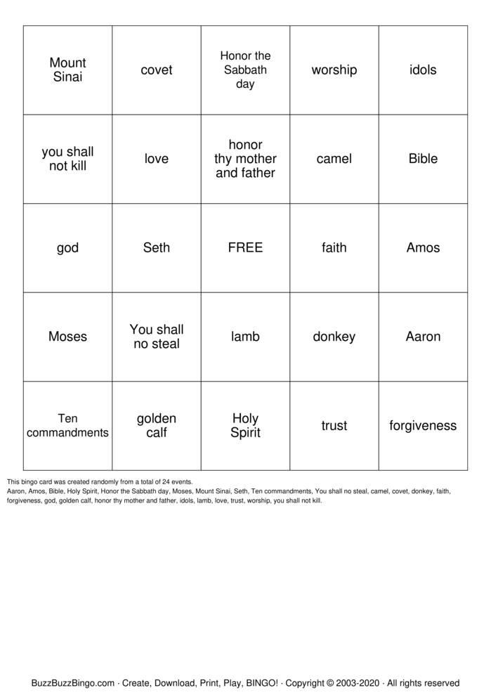 Download Free moses Bingo Cards