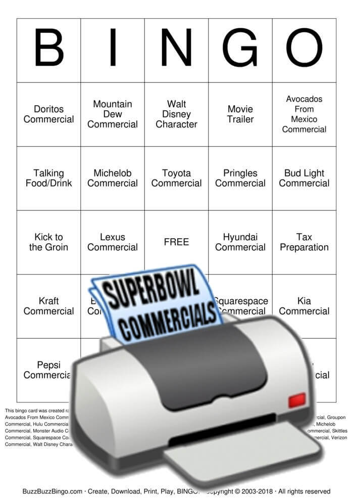 2018 Superbowl Commercials Bingo Card