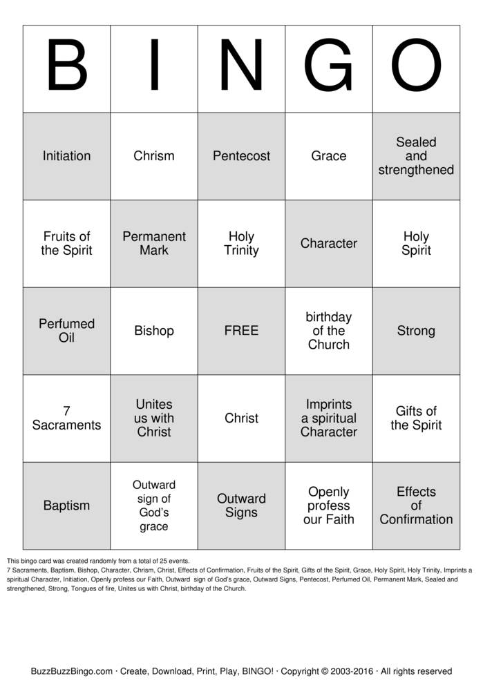 Download Free Confirmation Bingo Cards