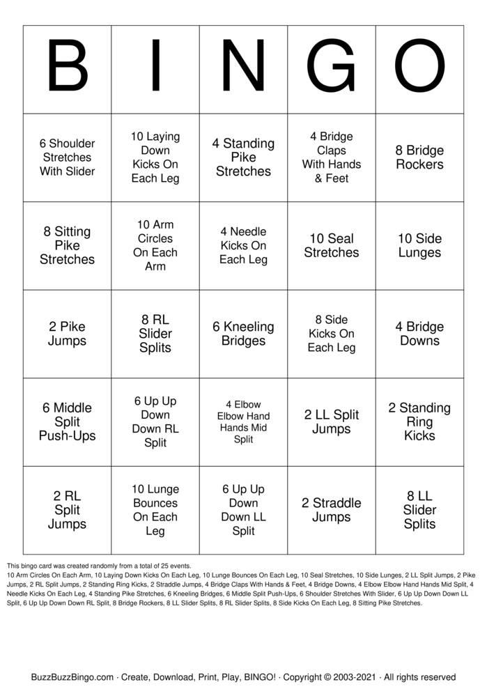 Download Free Flexibility Bingo Cards