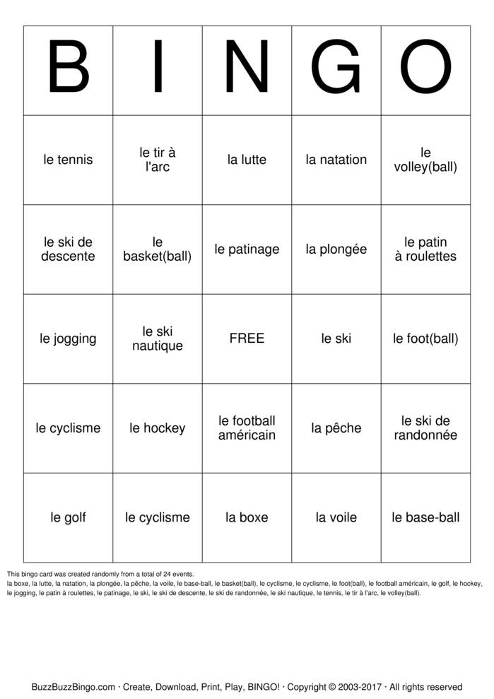 French Sports Bingo Card