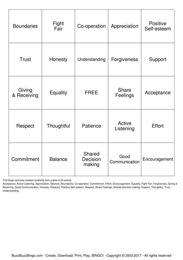 Healthy Relationships Bingo Card