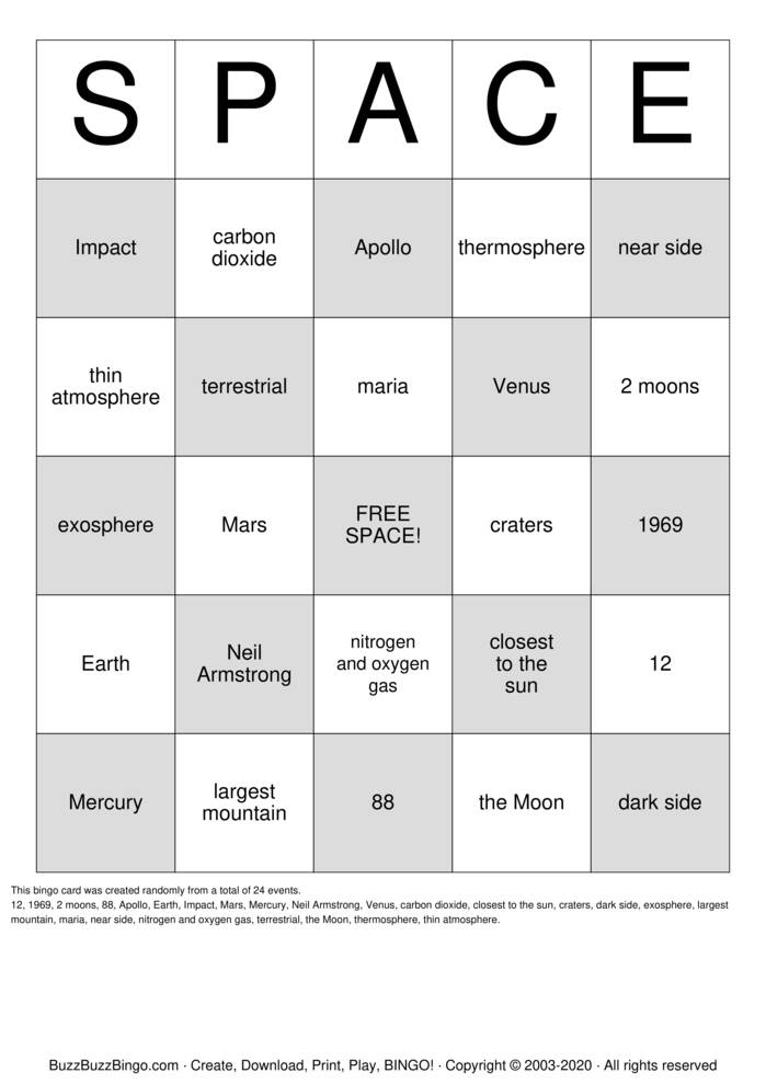 Download Free Planet Bingo Bingo Cards