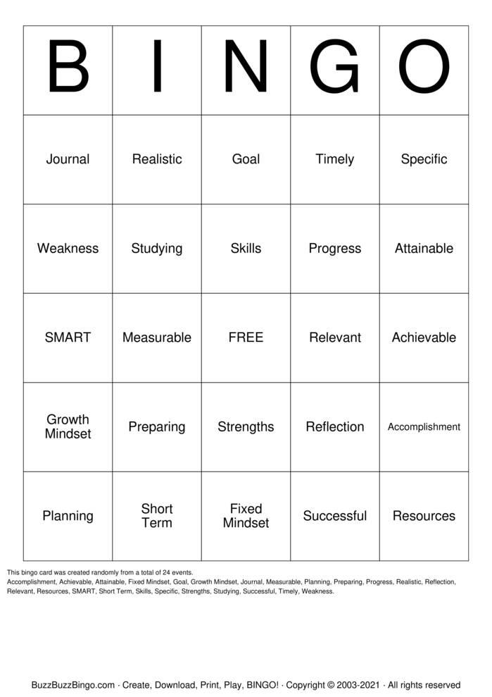 Download Free SMART Goal Bingo Cards