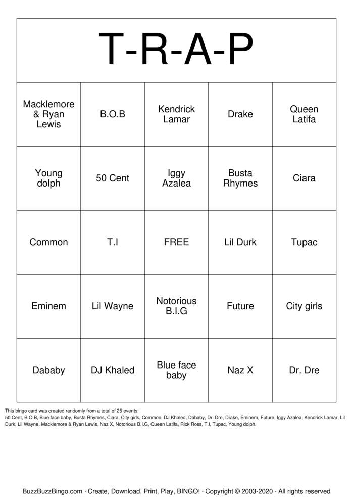 Download Free Trap  Bingo Cards