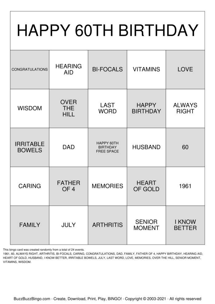 Download Free 60th Birthday  Bingo Cards
