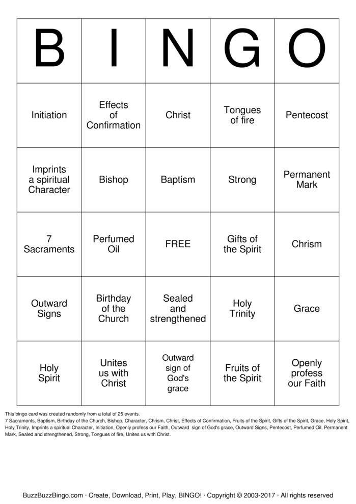 Confirmation Bingo Card