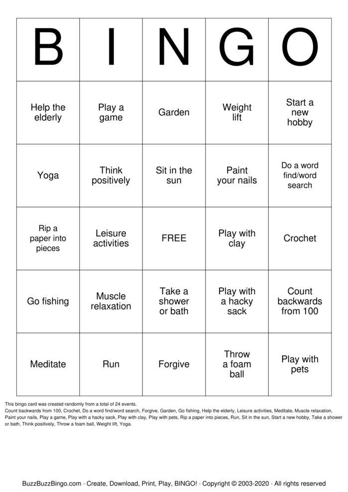 Download Free Coping Skills Bingo Cards