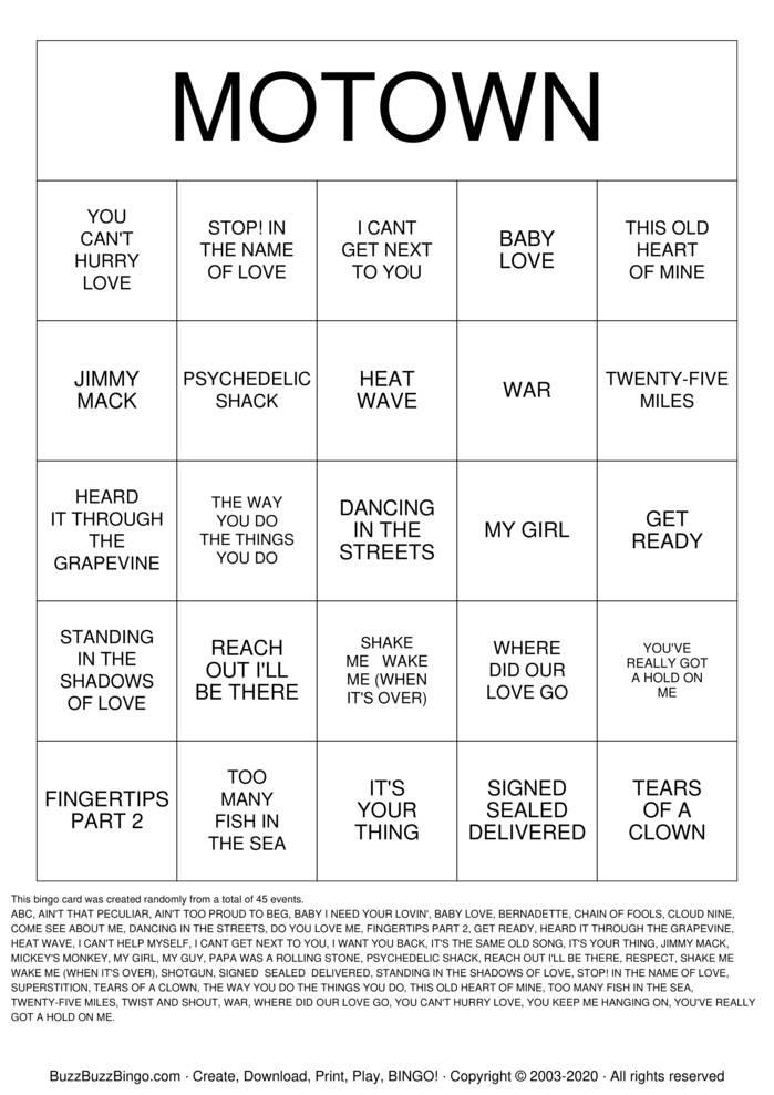 Download Free Motown  Bingo Cards
