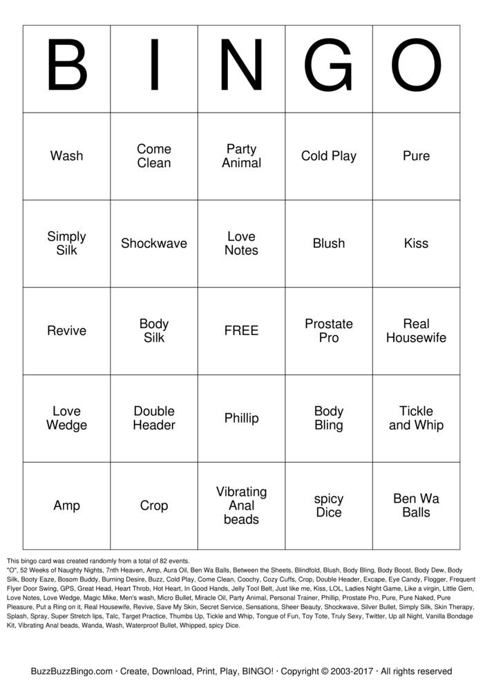 Naughty Bingo  Bingo Card