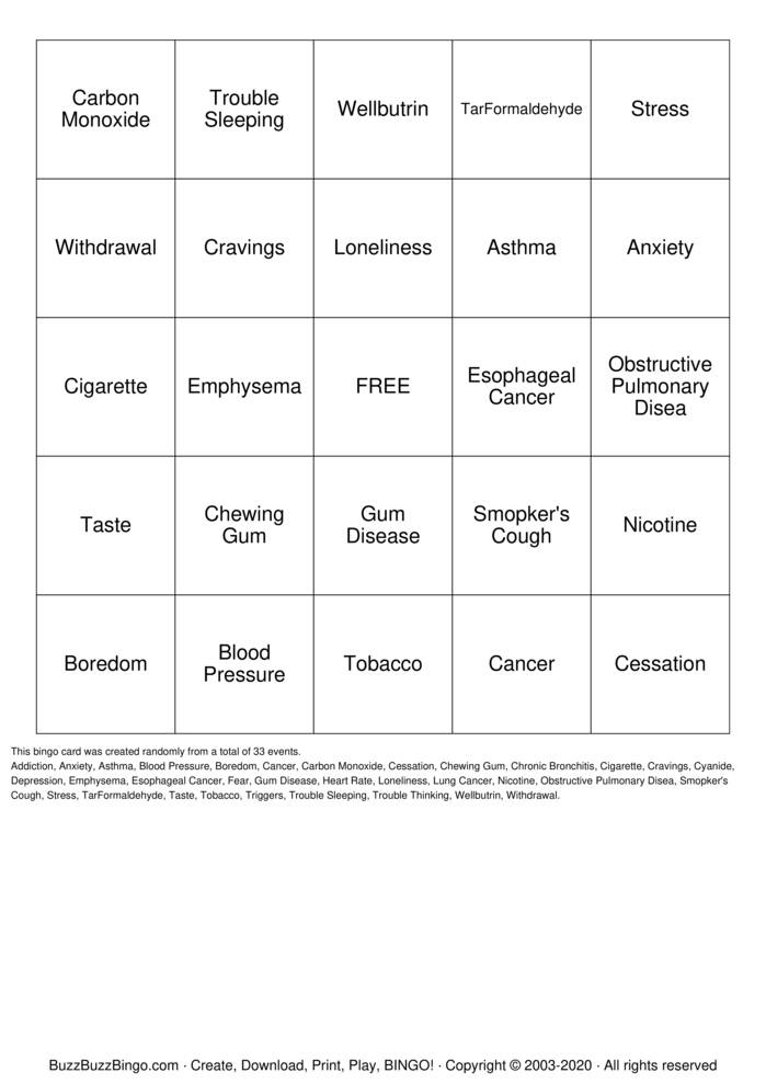 Download Free Smoking Cessation BINGO Bingo Cards