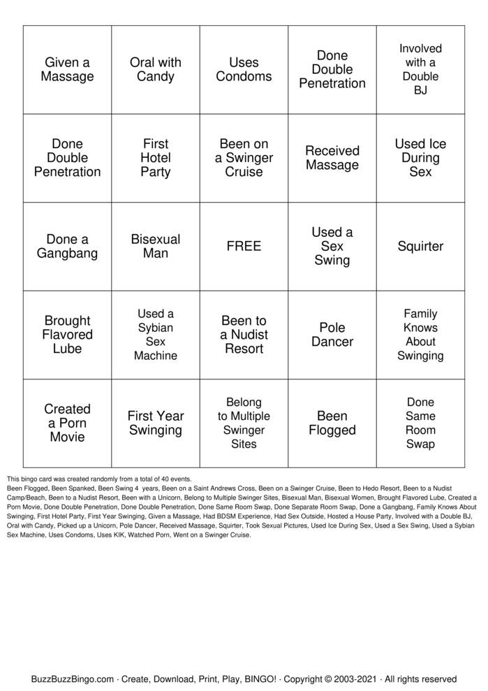 Download Free Swinger Bingo Bingo Cards