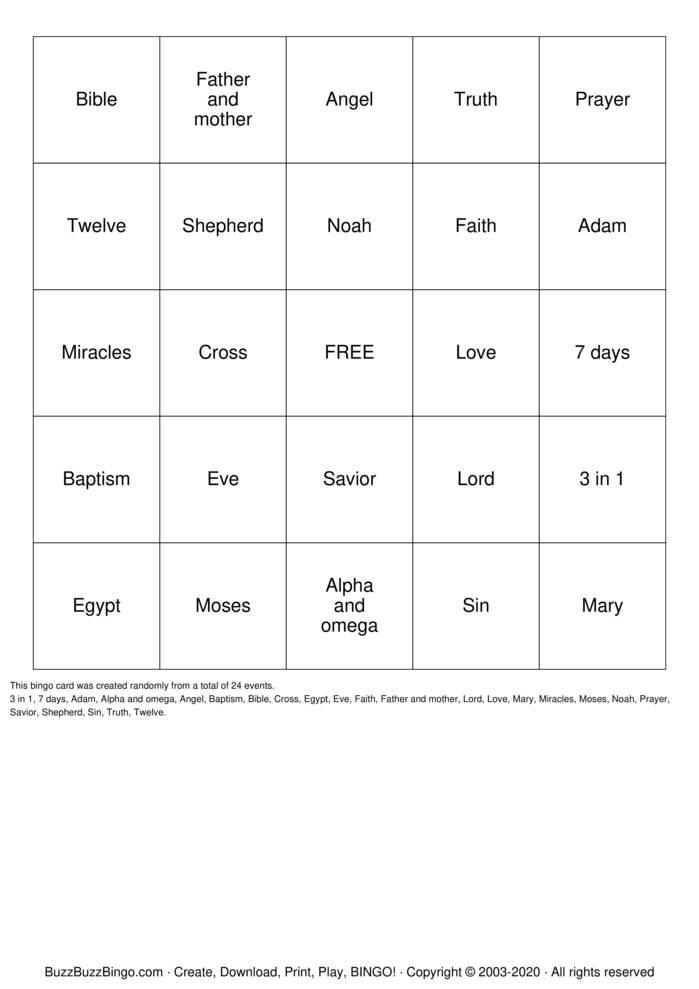 Download Free jesus Bingo Cards