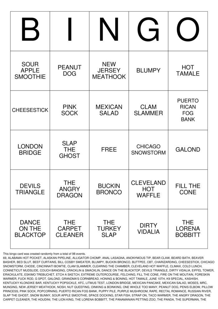 Download Free DIRTY Bingo Cards