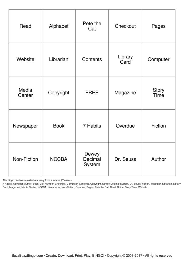 Download Dewey Decimal System Bingo Cards