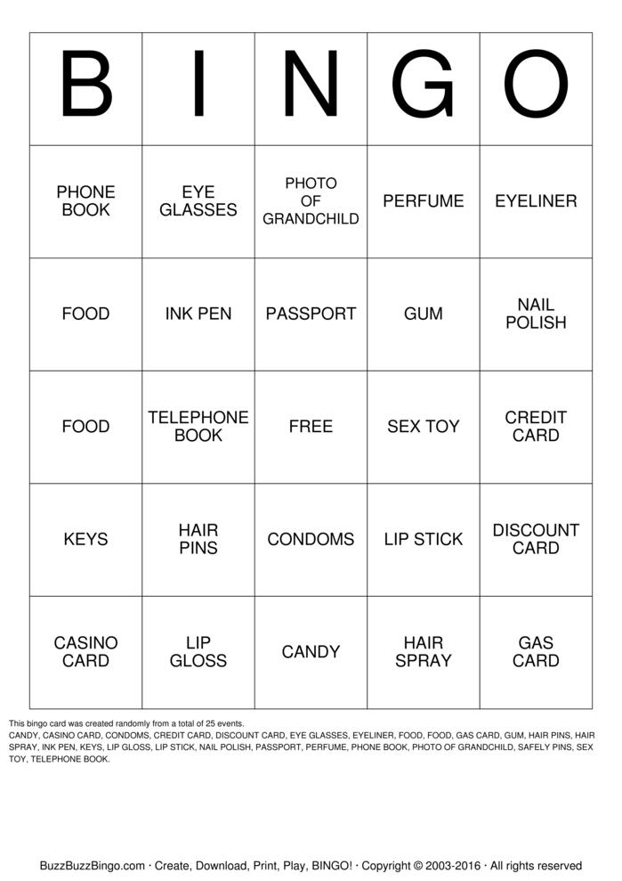 Download Handbag Bingo Bingo Cards