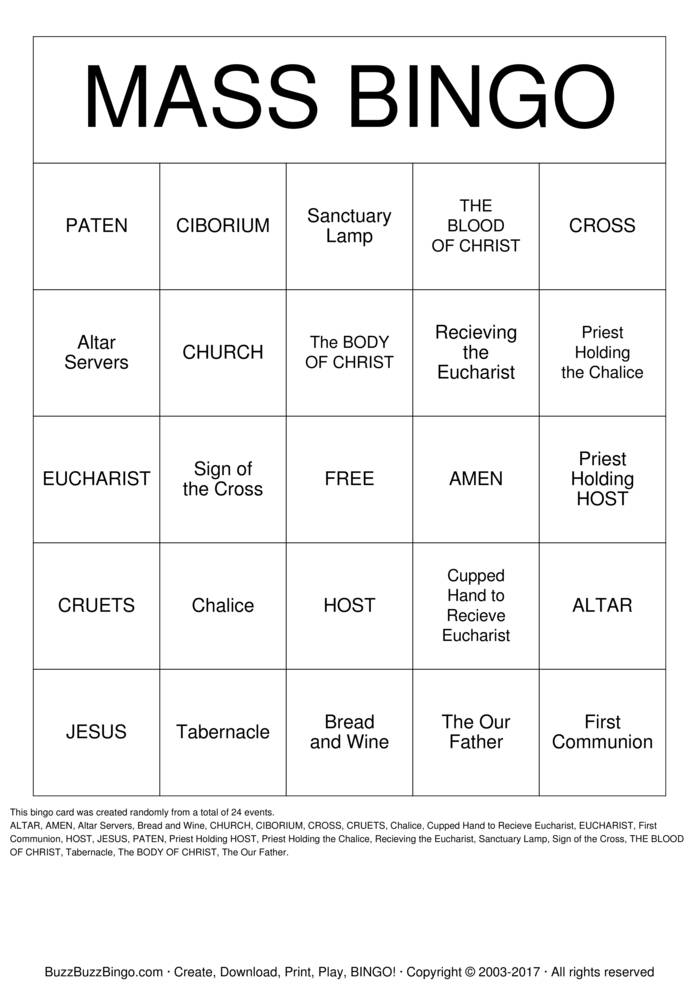 Download MASS Bingo Cards