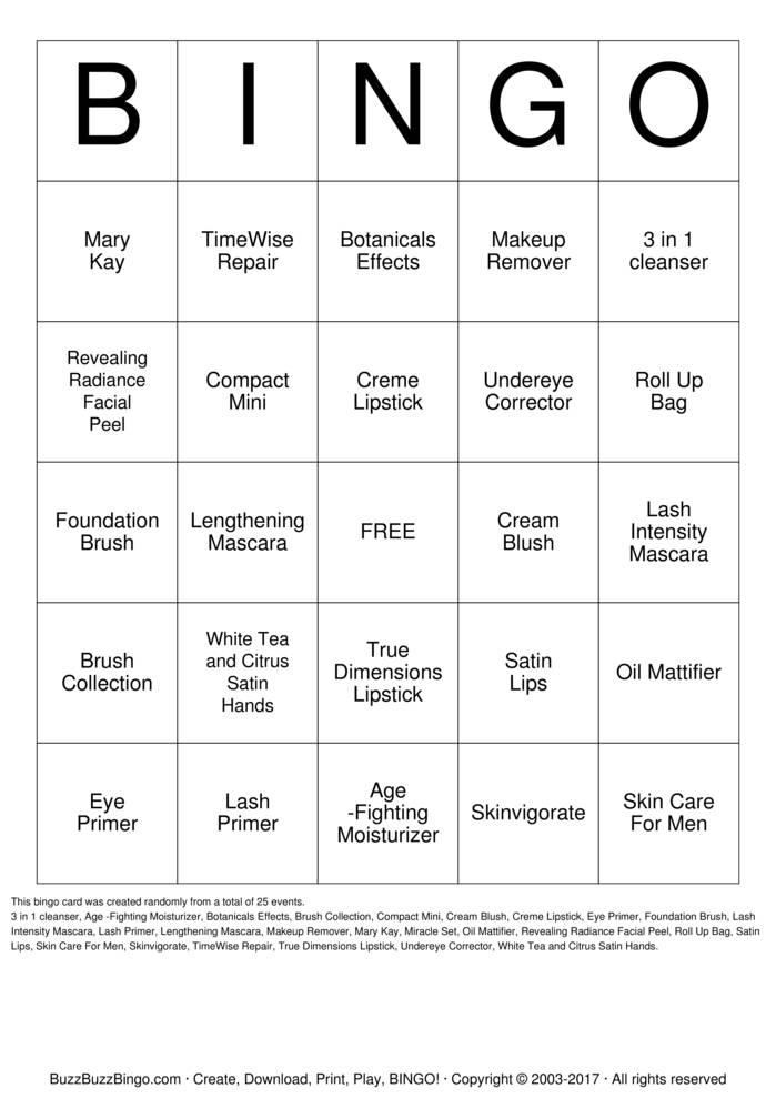 Download Free Mary Kay Bingo Bingo Cards