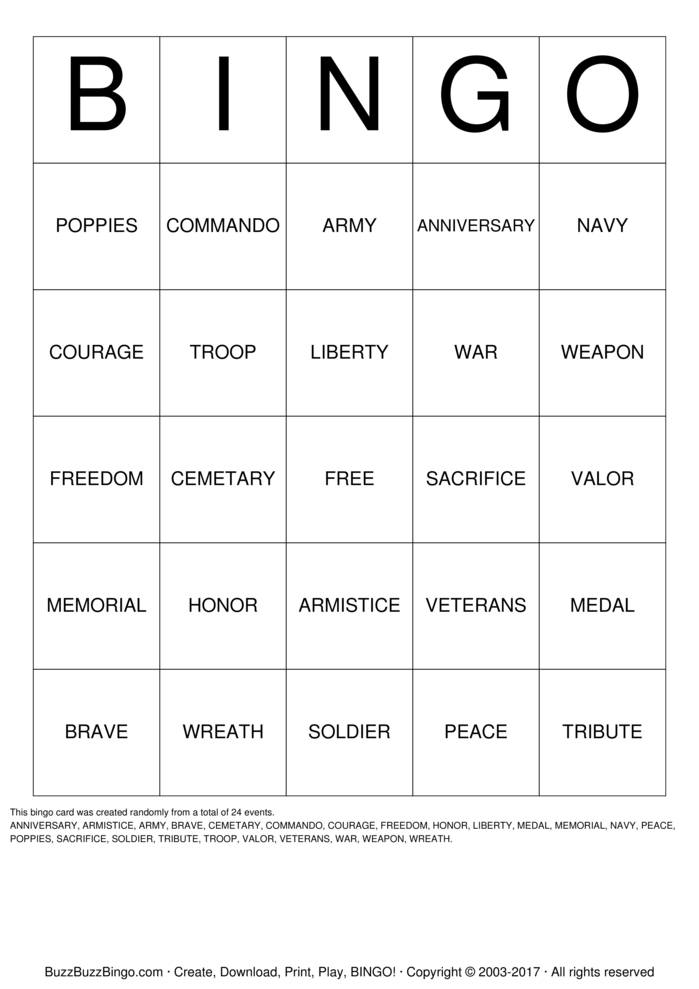 Memorial Day  Bingo Card