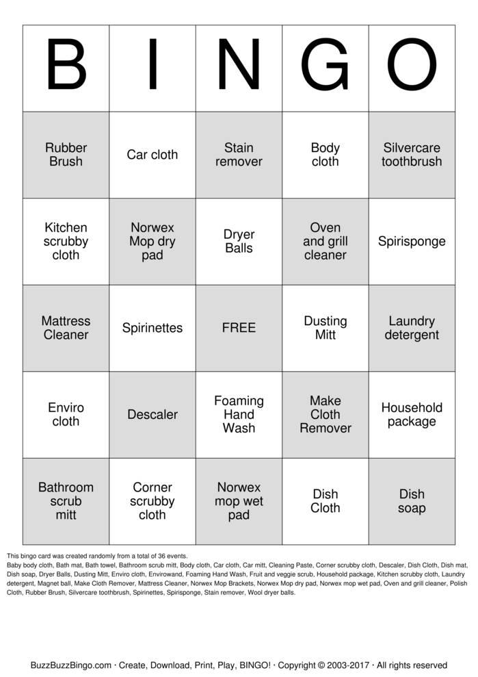 NORWEX BINGO Bingo Card