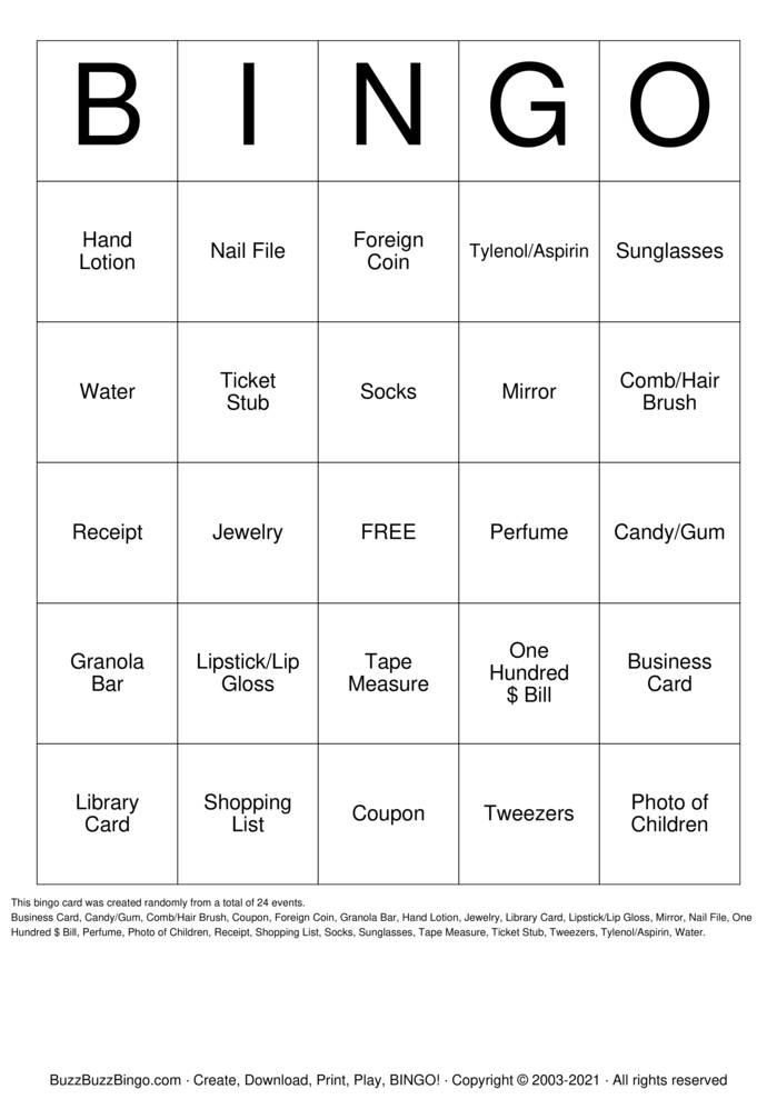 Download Free PURSE Bingo Cards