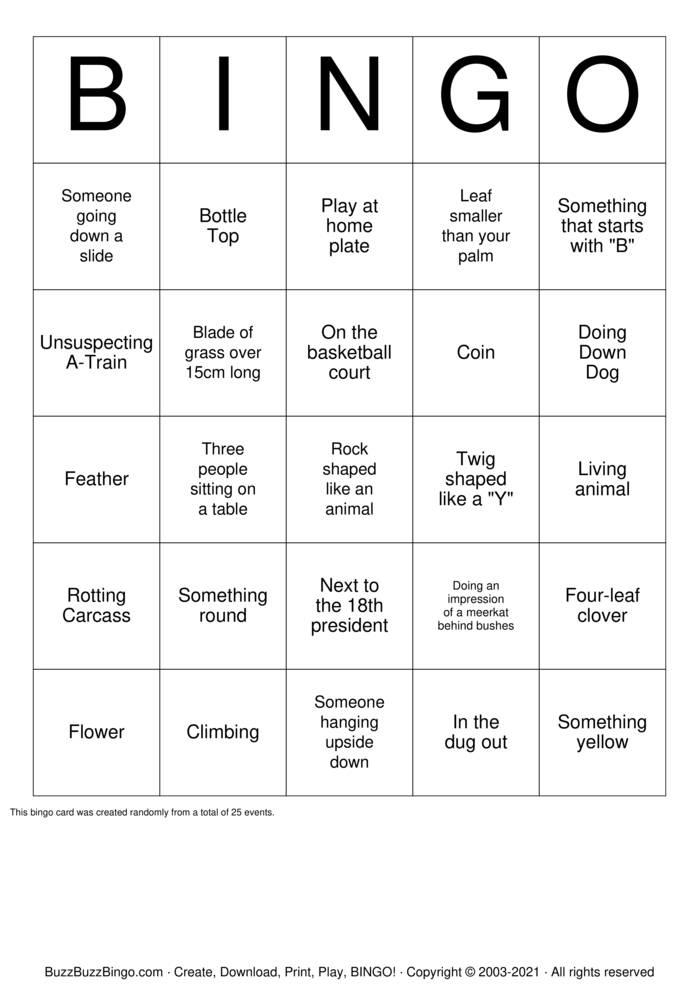 Download Free Park Scavenger Hunt Bingo Cards