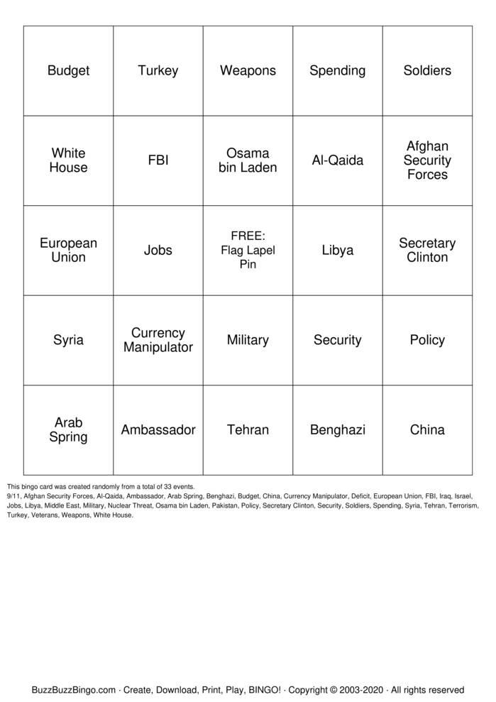Download Free Trump Bingo Cards