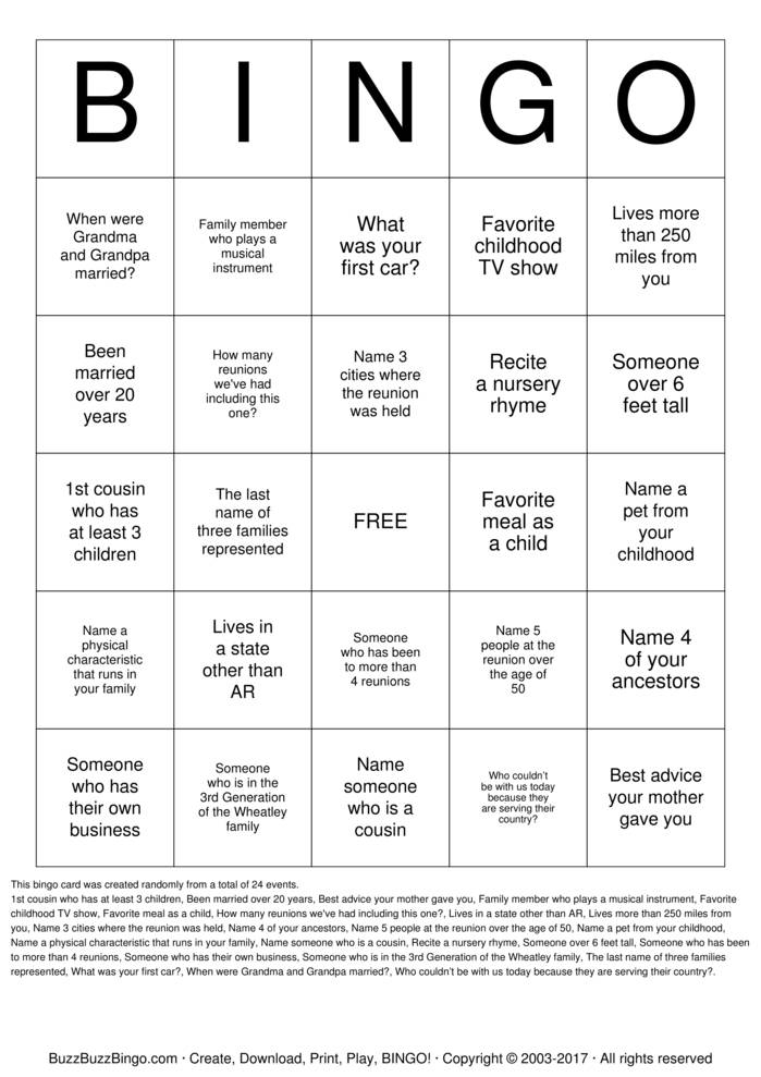 Download Wheatley Family Reunion Bingo Cards