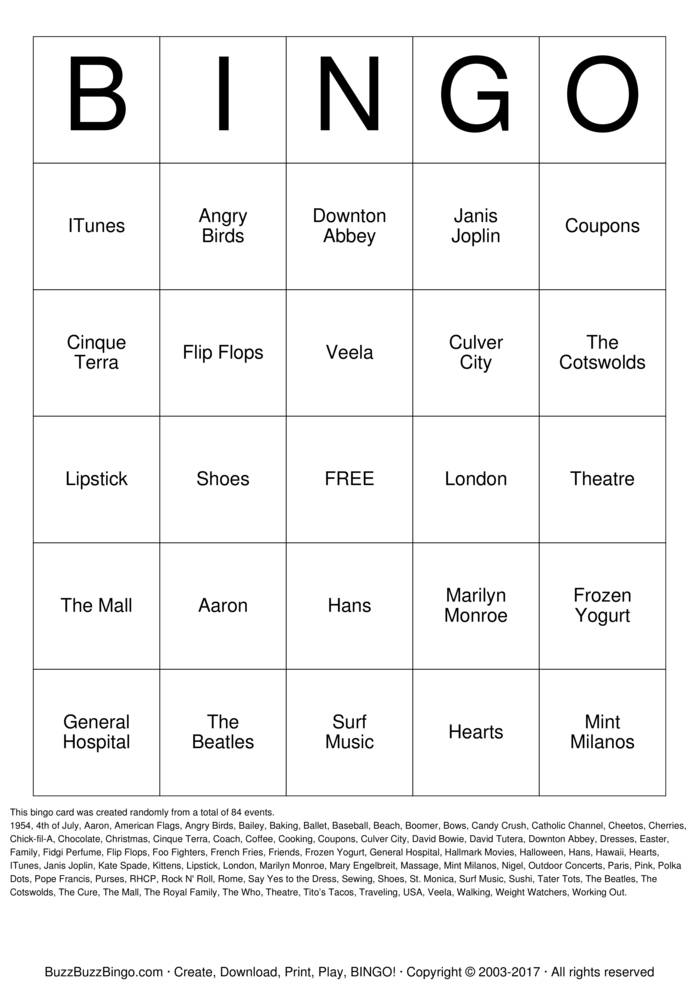 60th Birthday Party Bingo Card