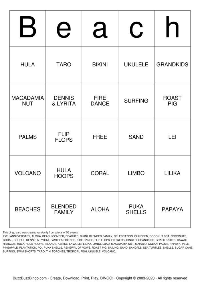 Download Free Beach Bingo Cards