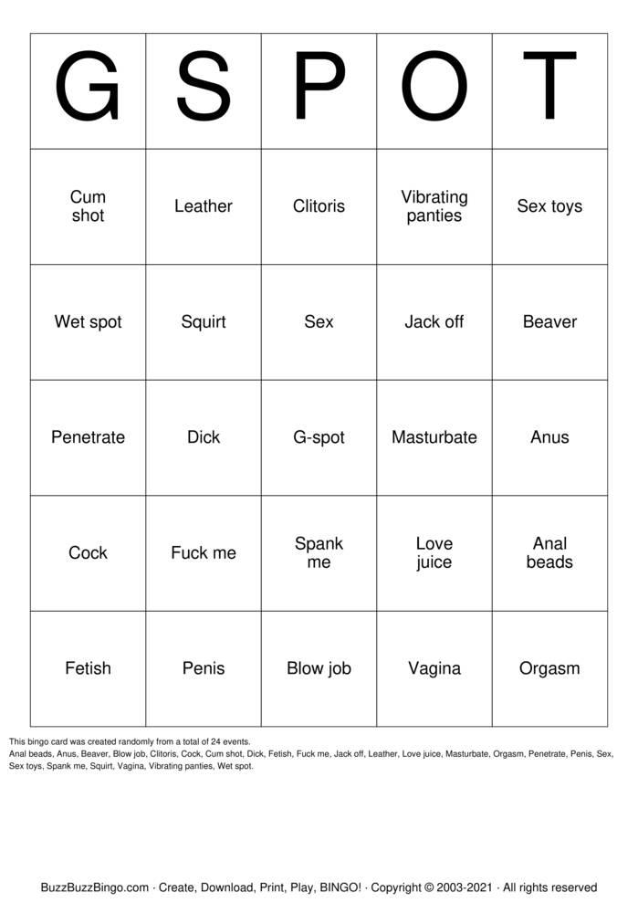 Download Free Cum shot Bingo Cards