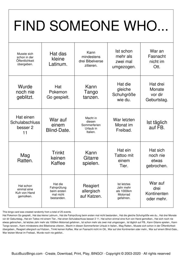 Download Free Finde jemand Bingo Cards