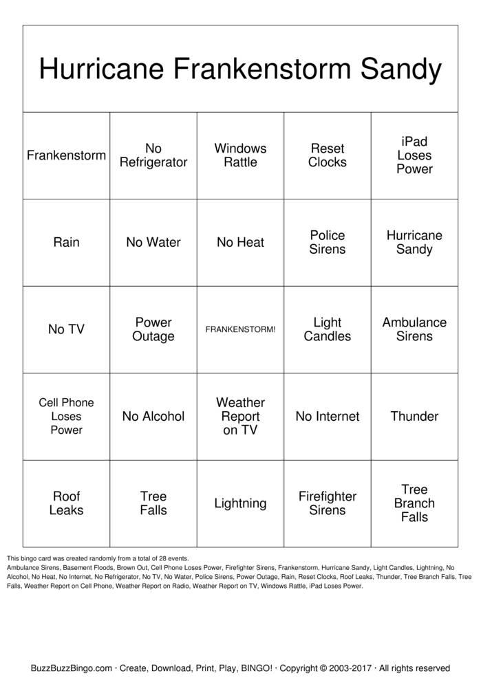 Hurricane Frankenstorm Sandy Bingo Card
