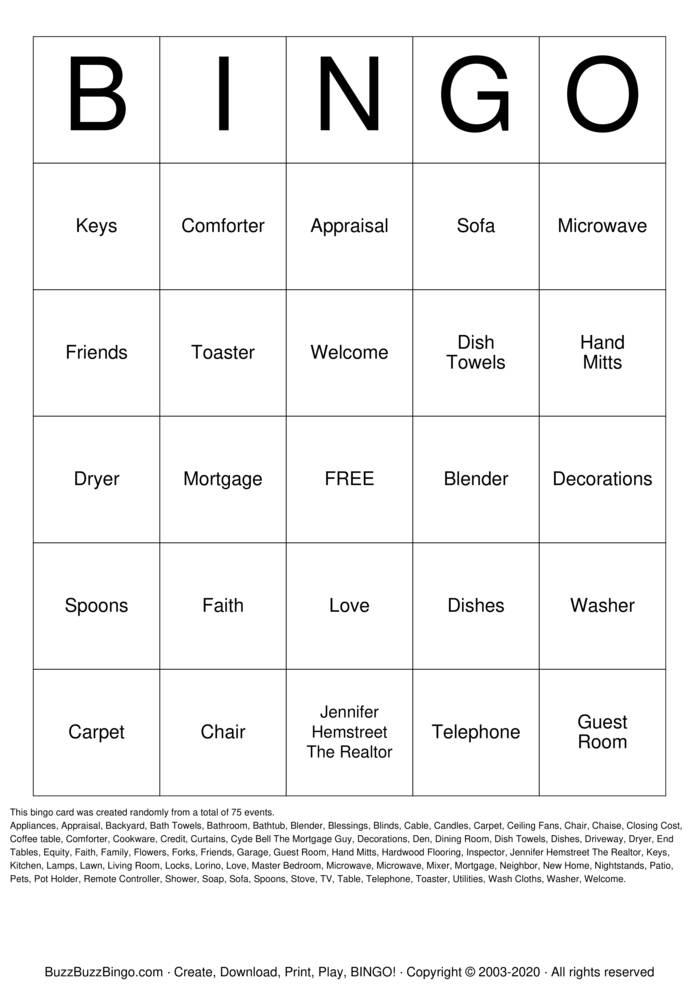 Download Free Lorino's House Warming Party Bingo Cards
