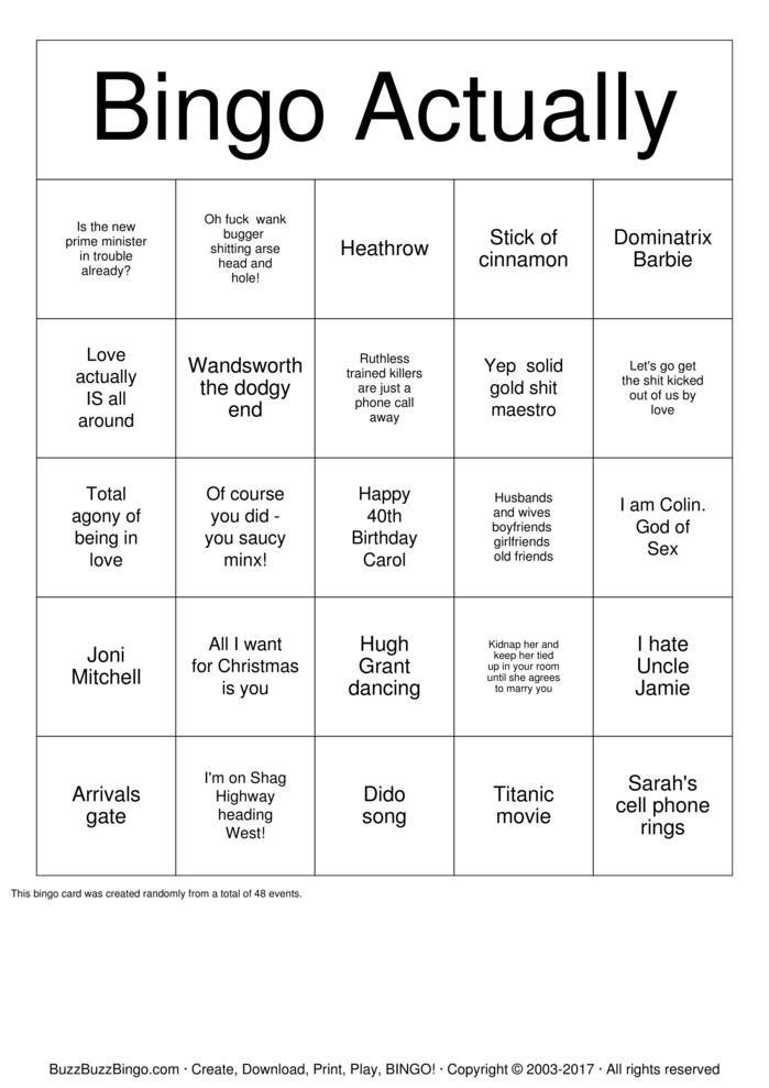 Download Free Love Actually Bingo Cards