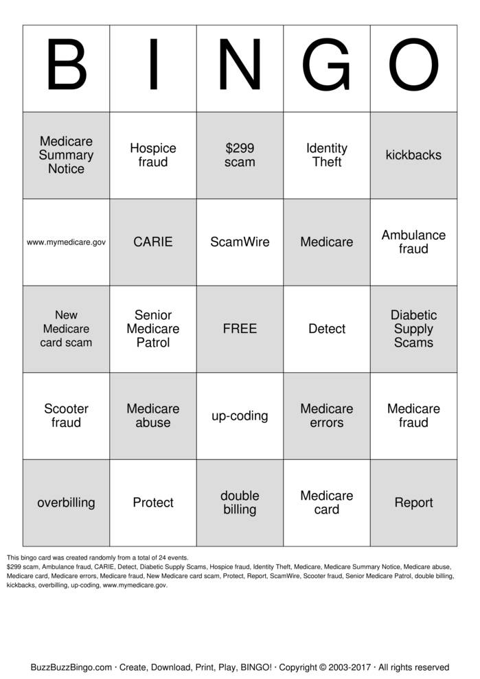 Download Free MEDICARE Bingo Cards