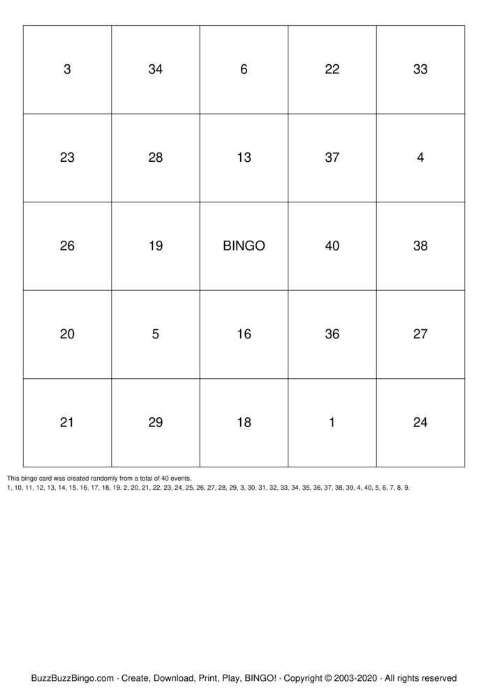 Download Free Numbers 1-40 Bingo Cards