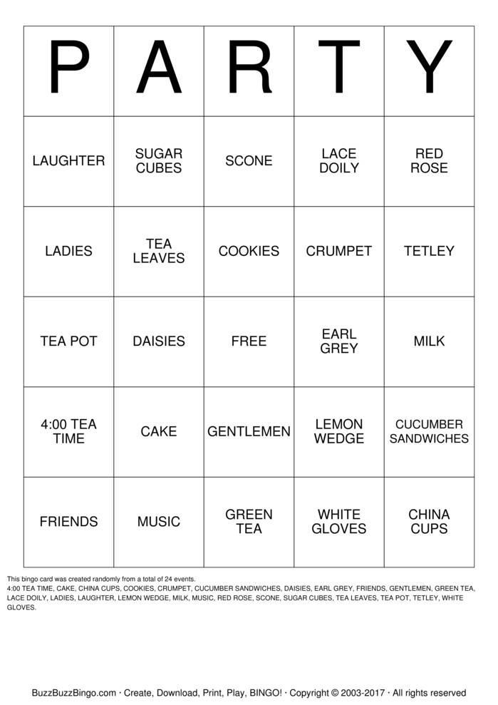 Download TEA PARTY Bingo Cards