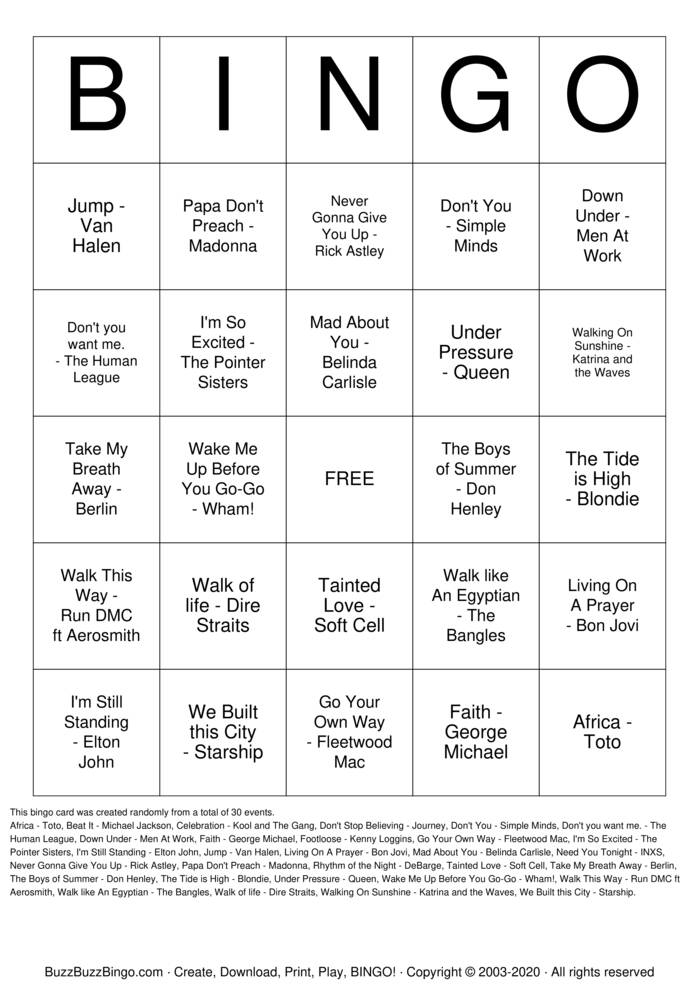Download Free 80's Bangers Bingo Cards