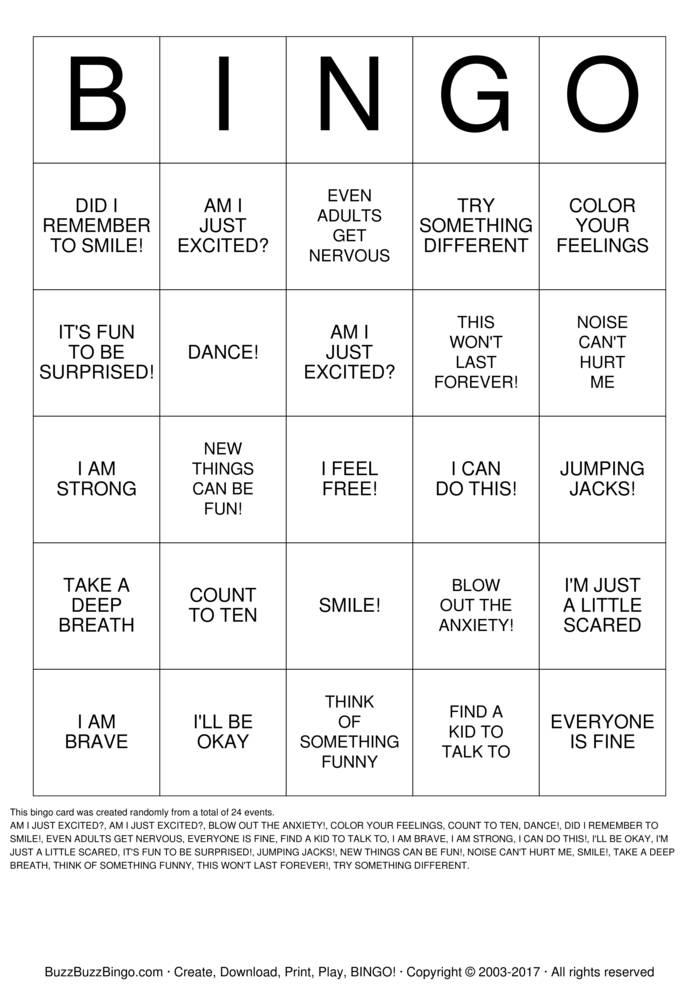 ANXIETY BINGO Bingo Cards to Download, Print and Customize!