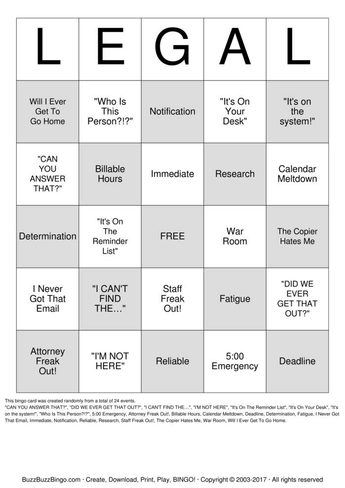 Download LEGAL Bingo Cards