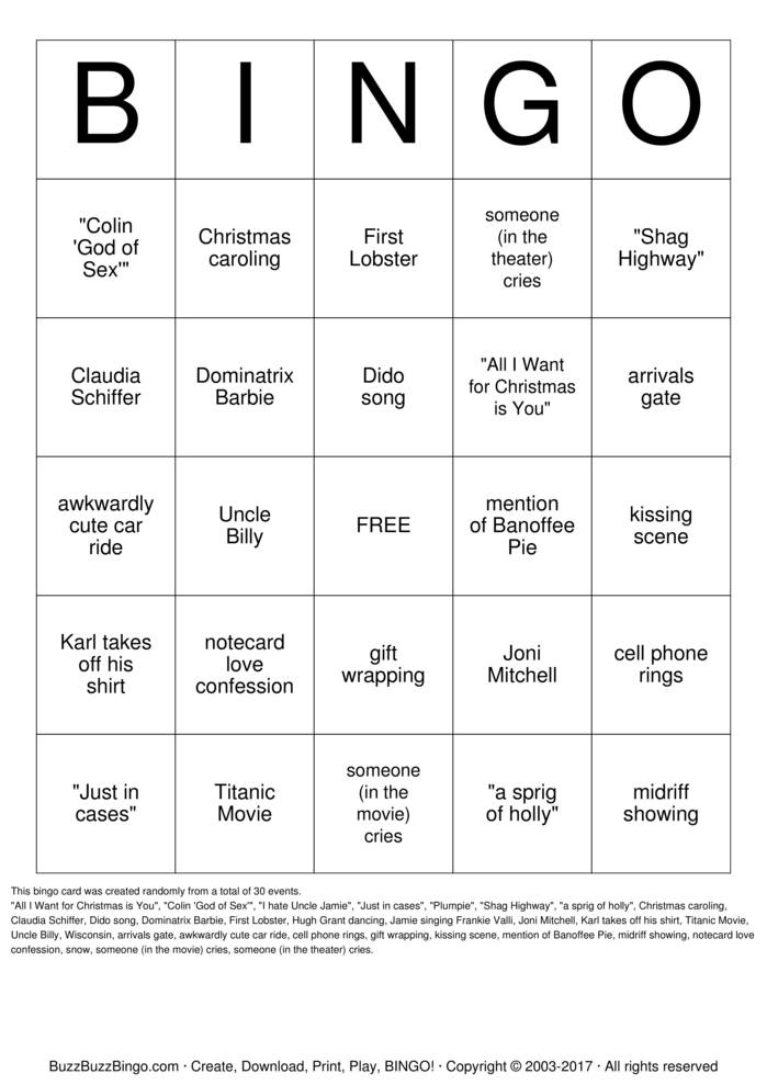 Download Free Love Actually Bingo Bingo Cards