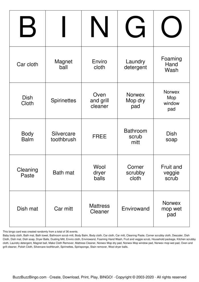 Download Free NORWEX BINGO Bingo Cards