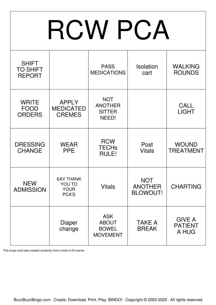 Download Free PCA Bingo Cards