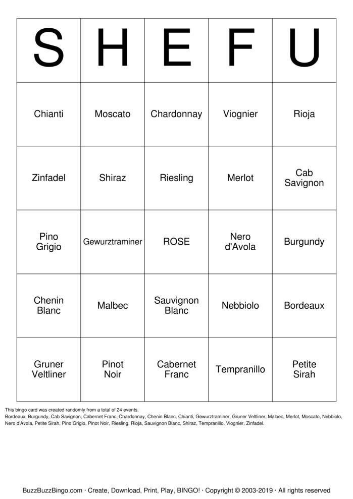Download Shef's Bridal Shower Bingo Bingo Cards