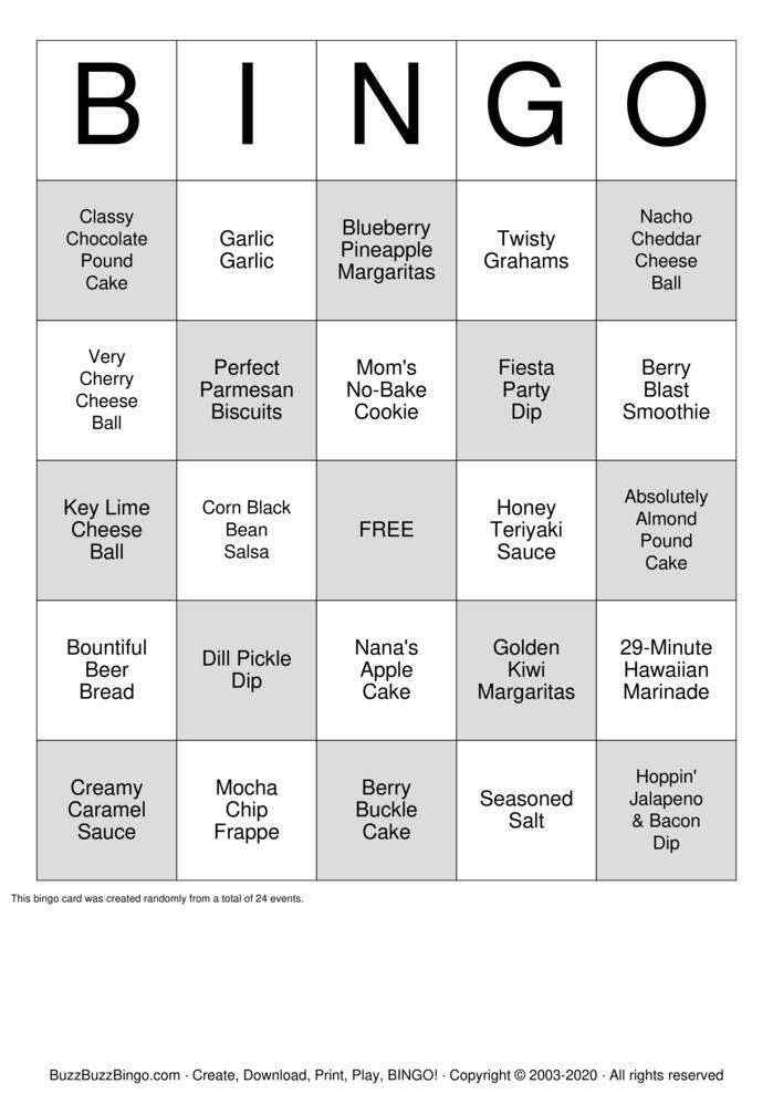 Download Free Tastefully Simple Bingo Bingo Cards