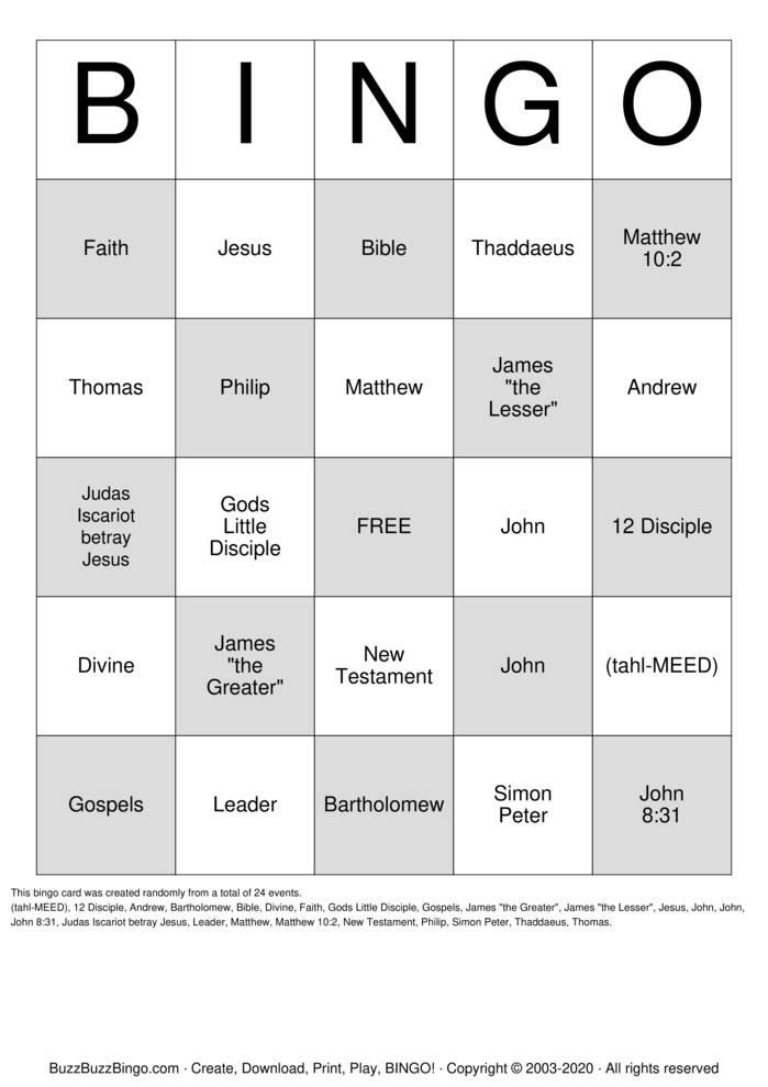 Download Free 12 Disciple  Bingo Cards