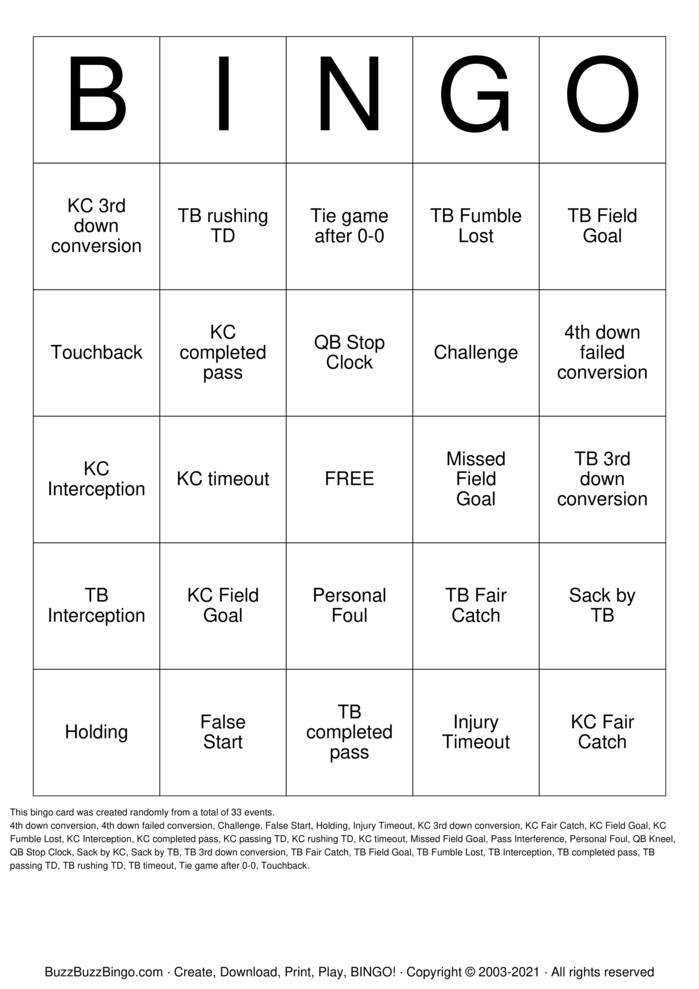 Download Free 2021 Superbowl KC vs TB Bingo Cards